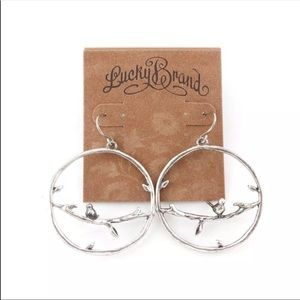 Lucky Brand Bird Earring on a branch circle dangle